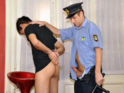 Tasty boy drilled and jizzed by a mature policeman